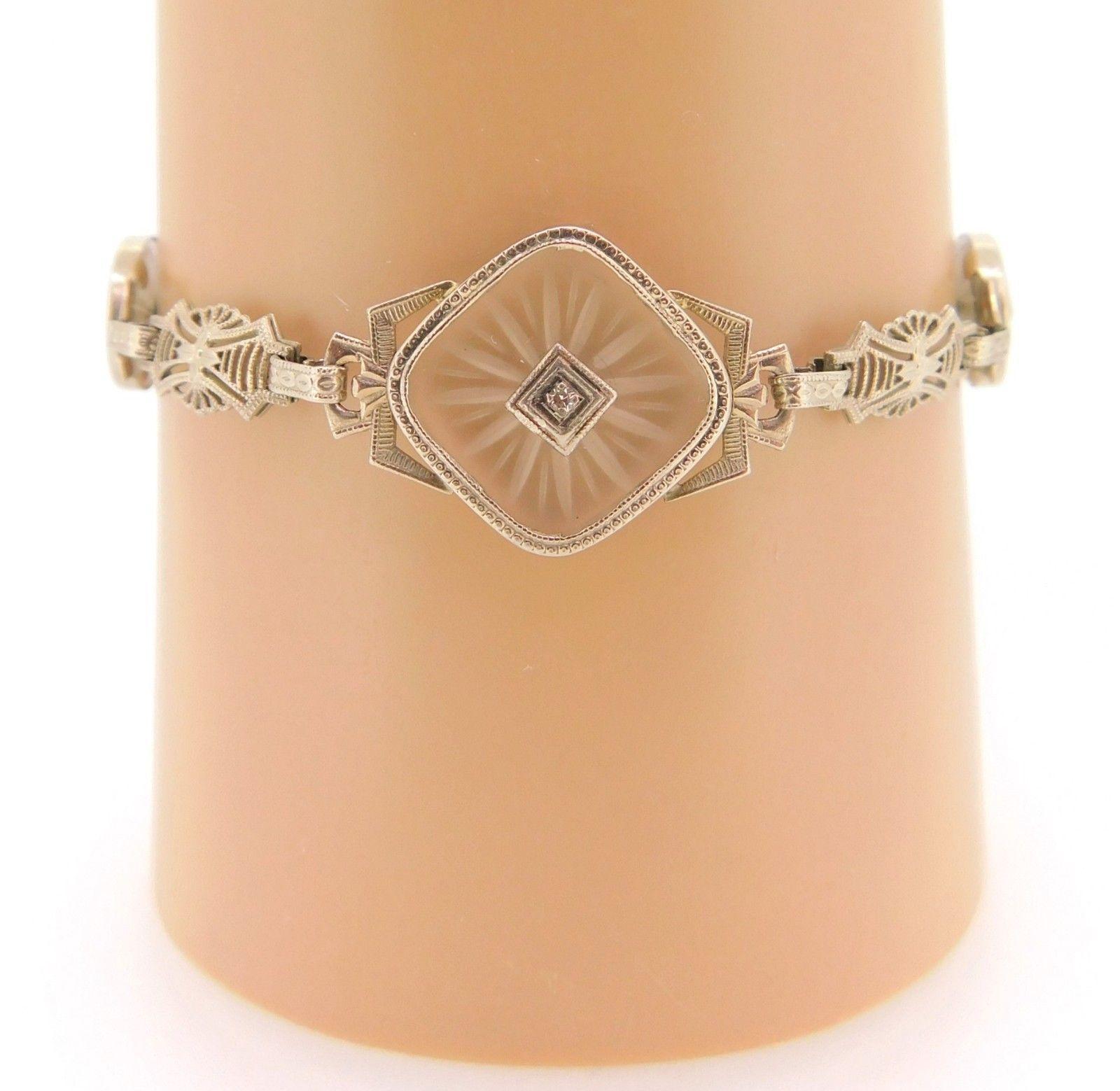 14k Gold Filigree Art Deco Genuine Rock Crystal Bracelet with Diamonds (#J4021)