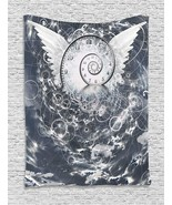 Psychedelic Tapestry Surreal Paint with Wings and Time Spiral in Cloud w... - $45.70