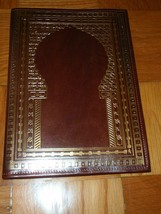 Leather Portfolio Folder Aged Leather Brown Gold inlay - From Tunisia - $42.75
