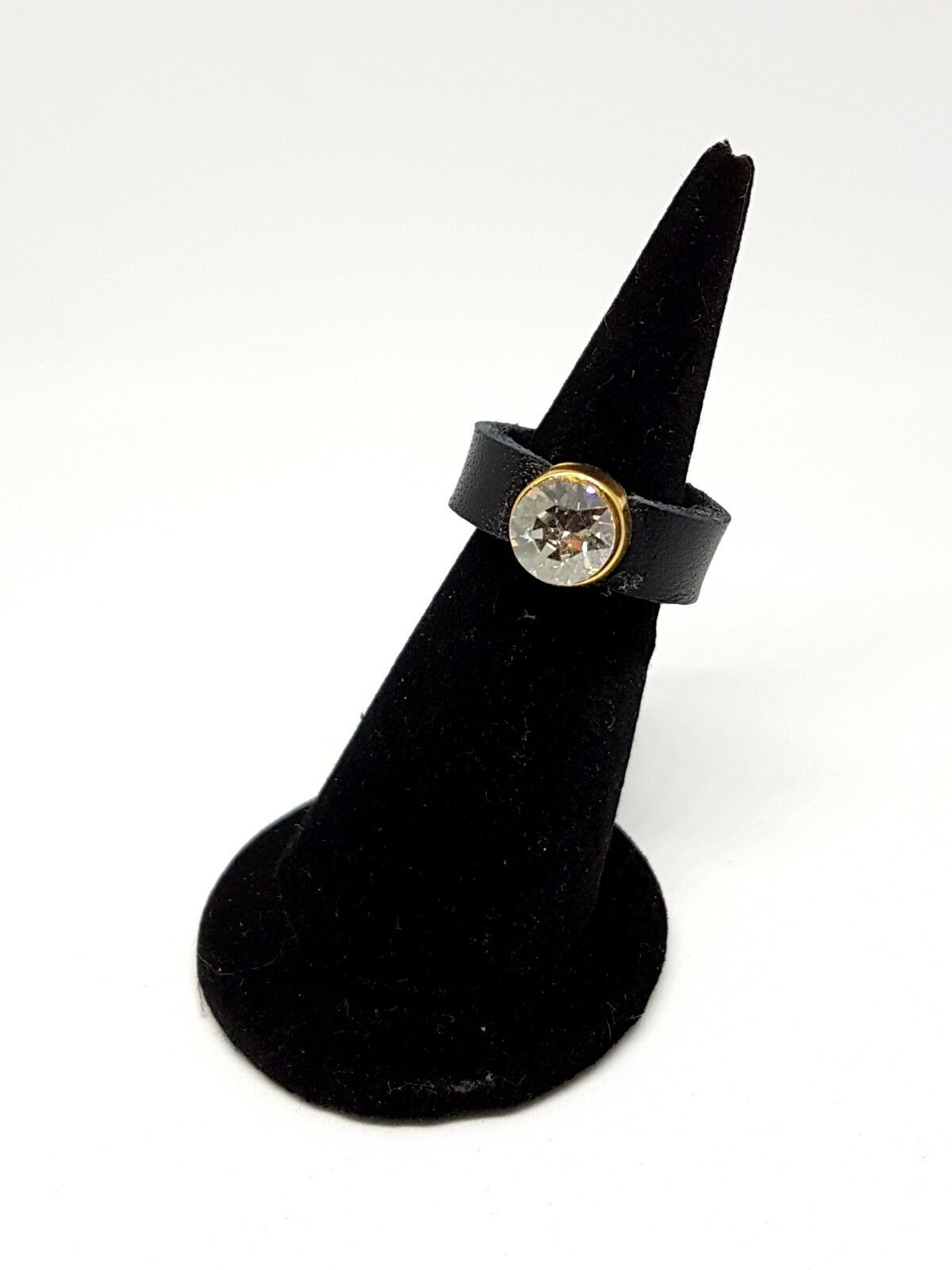 Fashion Cocktail Party Black Real Leather ring with Swarovski crystals