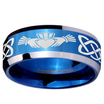 Irish Claddagh 8mm Blue Beveled Tungsten Carbide Engraved Ring - $43.99