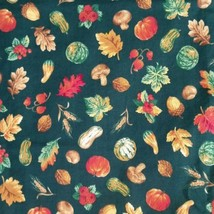 Joan Kessler Concord Fabrics Fall Autumn Dark Green Pumpkins Nuts Leaves... - $19.79