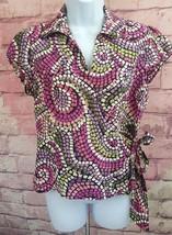 Sunny Leigh Womens Silk Wrap Around Career Casual Top Mosaic Print Sz 6 ... - $5.69