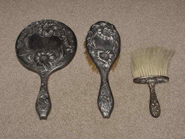 Victor Silver Company Patent June 4 1904 Ornate Vanity Mirror Hair Brush... - $75.00
