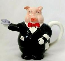 Cute Pig Waiter Red Bowtie Ceramic Teapot  - Preferred Stock Kitchenware - $19.79