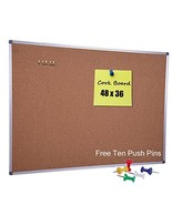 Large Cork Notice Bulletin Board, 48 x 36 Inch, Satin-Finished Aluminum ... - $63.60