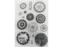 Christmas Sentiments and Snowflakes Clear Stamp Set