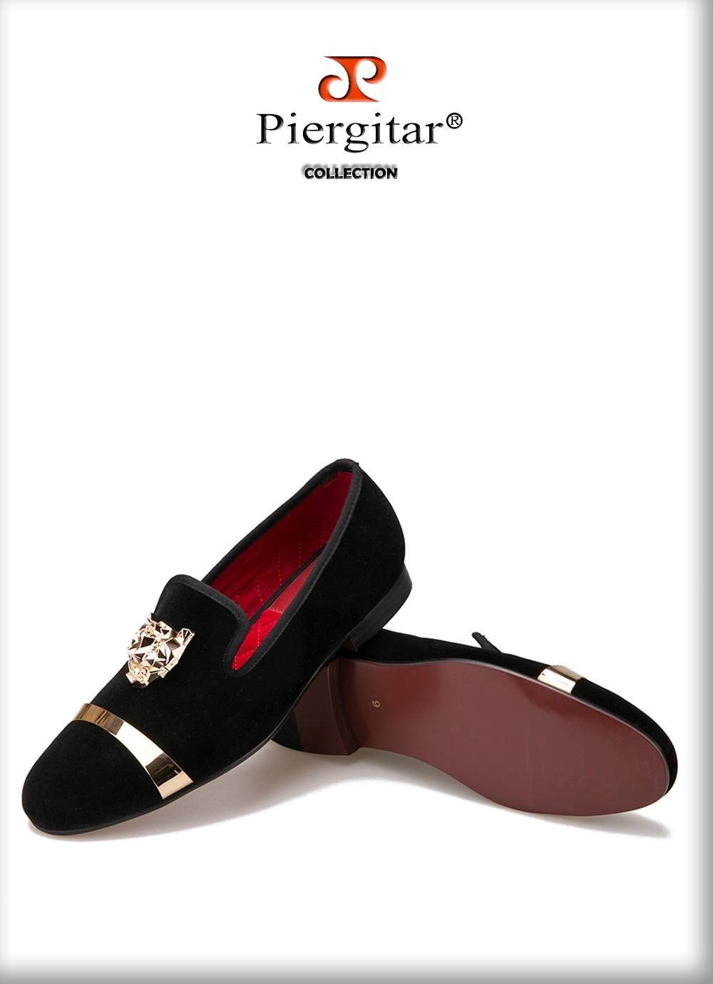 Black velvet gold buckle mens shoe 5