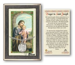 Prayer Card with Medal  of Saint Joseph and Chain - Sterling Silver