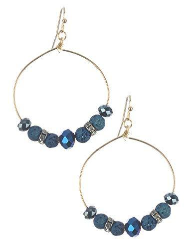 Stone and Bead Wire Dangle Earrings (Blue)