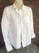 American Eagle Outfitters Solid White Shirt Sz 8 AE Favorite Fit Cotton LS Butto - $14.85