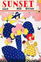 Vintage POSTER.Home wall.Mother Blue Polka Dress.Room interior Decor.683 - $10.89+