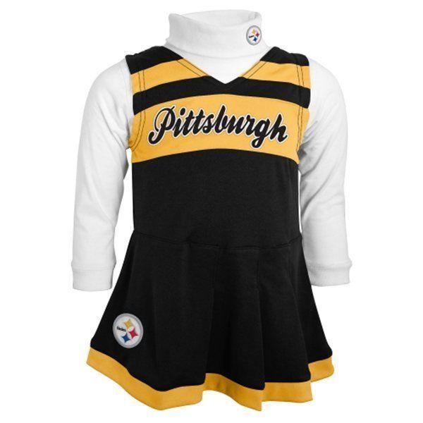 Pittsburgh Steelers Cheerleader Dress Toddler Girl's 2-Piece Jumper Turtleneck