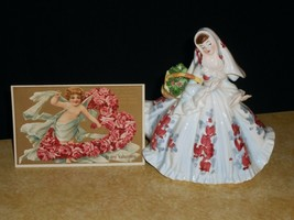 Lefton Lady Planter #426 Flowered Dress wth Valentine Posrcard - $74.24