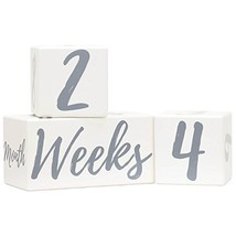 Baby Monthly Milestone Blocks for Age Photos | Premium Solid Wood Newborn - $28.51