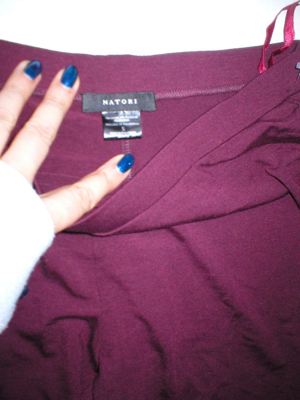 New NWT Designer Natori Dark Red Wine Pants Rayon Womens S Lounge Pajama PJ Tall