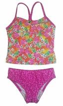 Speedo Girl's Sporty Splice Tankini 2 Piece Swimsuit (16, Pink/Pineapple) NWT image 1