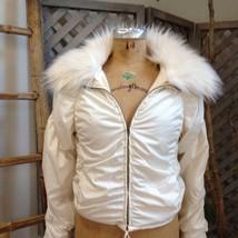 Ivory FAUX FUR Jacket EXPRESS Shirred Cream Drama Coat LIGHT Transitiona... - $43.44