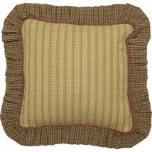 """Tea Cabin Fabric Ruffled Pillow - 16x16"""" - Greens, Reds, Khaki - VHC Brands - $487,67 MXN"""