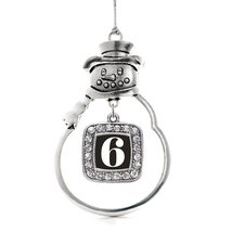 Inspired Silver Number 6 Classic Snowman Holiday Decoration Christmas Tr... - $14.69