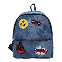 Red Sexy Lips Denim Jeans Women Backpack Small School Emoji Smile Blue B... - $19.99