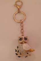 Owl Keychain White Enamel Gold Tone Clear Crystals Articulated Mother of... - $43.83