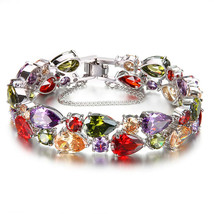 Women Bracelets Gemstone Multicolor Crystal Garnet Topaz Amethyst Morgan... - $84.01