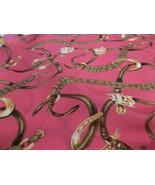 Ralph Lauren Horsebit Horseshoe  Silk Scarf Hot Pink 18 X 50 - $49.49