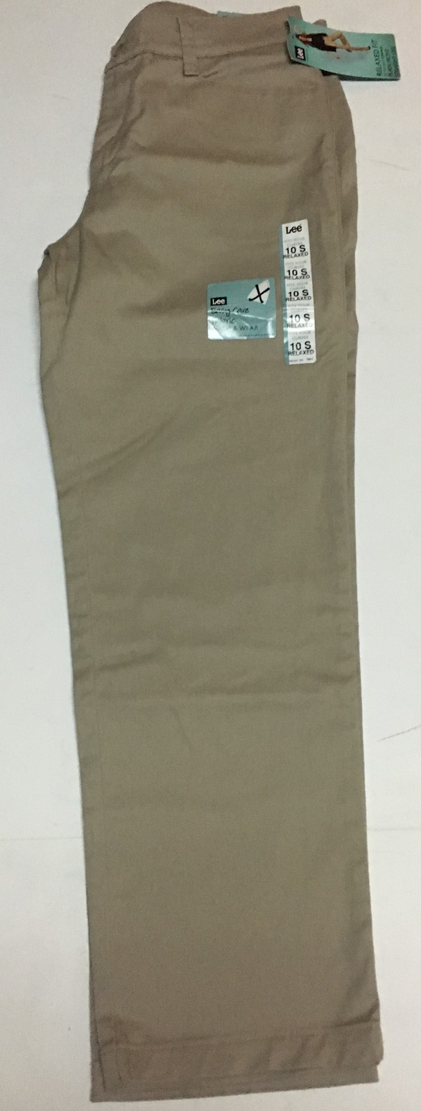 Lee Relaxed Fit Stretch Beige Pants Sz 10 Short Straight Leg NWT image 4