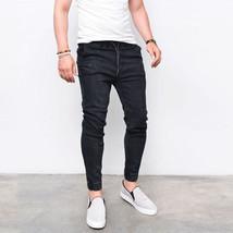 Envmenst Brand Fashion Men's Harem Jeans Washed Feet Shinny Denim (US size) - $37.28