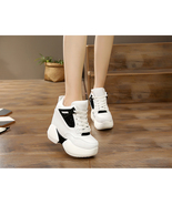 91B006 Fashion thick sole pump w crossed lace up top ,size 4-8.5, white/... - $58.80