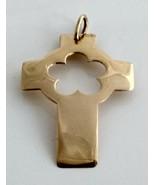 Cross pendant yellow gold 19,2kt modern design flower - $272.25