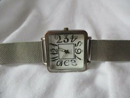 Accutime Watch Silver Toned Band White Rectangular Face Elegant Fashion - $29.00