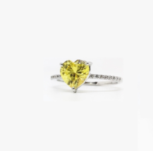 US 8.5 Sterling Silver Yellow Heart Solitaire Diamond Simulant Engagemen... - $70.99