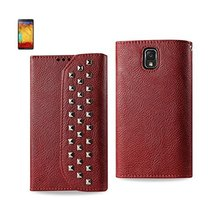 Reiko Wireless Studded Flip Case for Samsung Galaxy Note 3 - Dark Red - $13.70