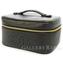 CHANEL Vanity Bag Caviar Leather Black CC Logo Cosmetic Pouch A01997 Aut... - $641.35