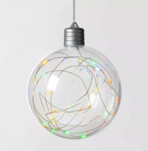 Christmas LED Clear Sphere with 30 Dew Drop String Lights Multicolor Silver Wire