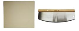 Davy Crockett Pizza Stone + Rocker Pizza Cutter - Stainless Steel/Wood H... - $30.64