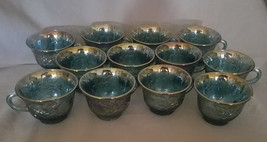 Vintage Colony Glass Carnival Blue Harvest Set of 12 Cups.1973-1976 - $43.20