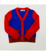 Crew Cuts Collection Boys Cardigan Sweater Blue Red Colorblock V-Neck Po... - $16.39