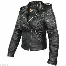 B932 Xelement Womens Classic Black Leather Rebel Stud motorcycle Jacket - $138.75