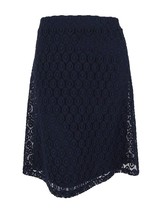 Alfani Navy Women's Eyelet-Laced Stretch A-Line Skirt Back-Zipper Blue 8... - $37.60