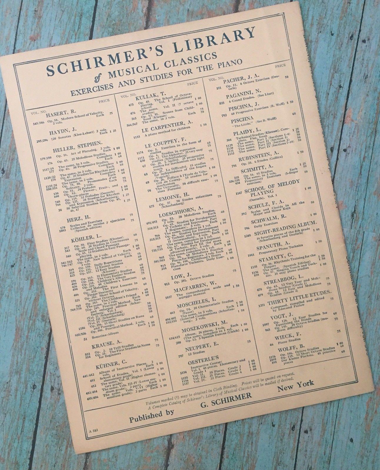 Schirmer's Library Vol 509 Berens Twenty Children Studies Op. 79 Book 1 Music