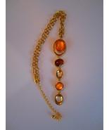 gold tone vintage necklace salmon color stones Mod necklace  - $23.40