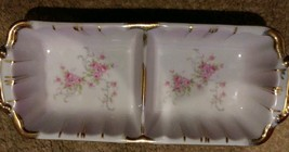 Vintage Lefton China HAND PAINTED Pink Flowers w/Gold Trim Divided Dish - $9.74