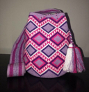 Primary image for Authentic 100% Wayuu Mochila Colombian Bag Large Size Single Thread Lavender
