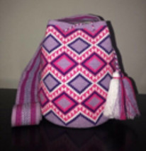 Authentic 100% Wayuu Mochila Colombian Bag Large Size Single Thread Lave... - £106.83 GBP