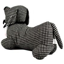 Delton Black Checkered Tweed Fabric Dachshund Puppy Dog Door Stopper Doorstop image 2