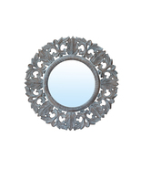 Decorative Hand Carved Indian Round Wall Mirror By TheKraftInc. Size : 2... - $69.37