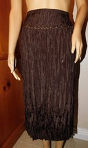 NWT Talbots  Woman Petites Silk Brown Sequins & Beaded Crinkle Long Skirt Sz 18W - $24.99